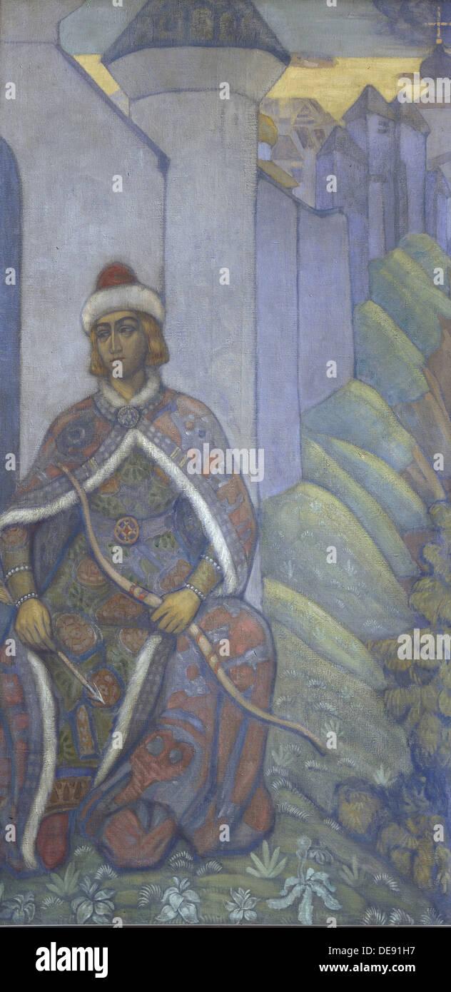 Un Cavaliere, 1910. Artista: Roerich, Nicholas (1874-1947) Immagini Stock