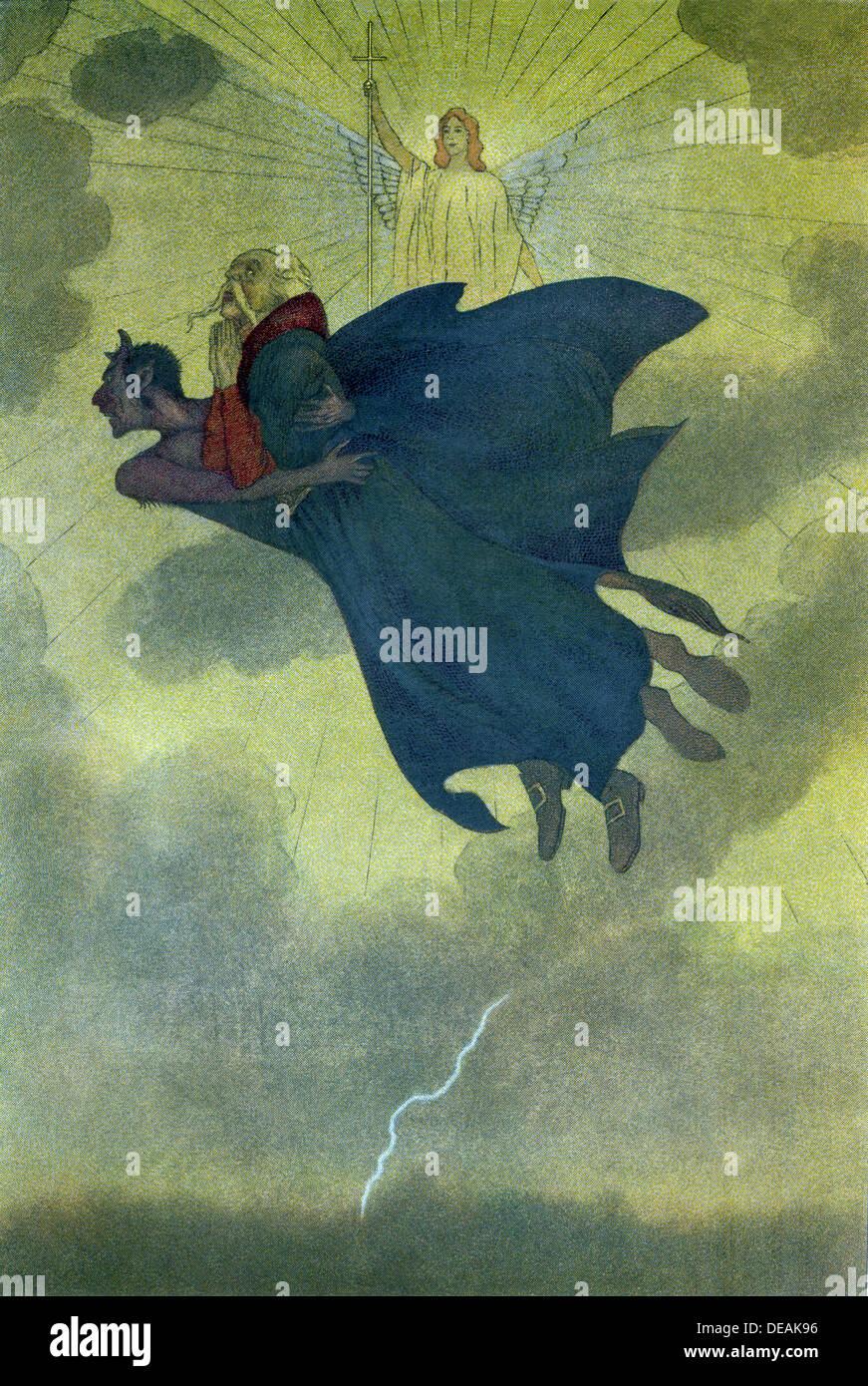 """Twardowski, il Polacco Faust, è qui mostrato nelle braccia del diavolo o """"maligno"""", mentre un angelo guardato dal di sopra. Immagini Stock"""