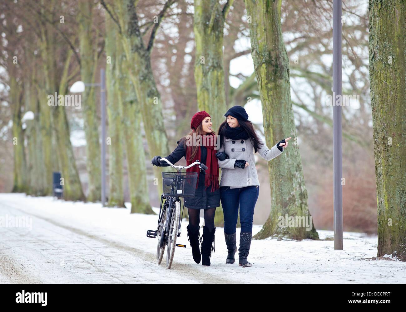 Due amici all'aperto godendo il loro tempo di incollaggio in un parco invernale Immagini Stock
