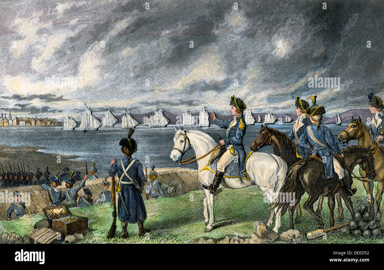 Washington la visione di evacuazione delle truppe britanniche da Boston, 1776. Colorate a mano l'incisione Immagini Stock