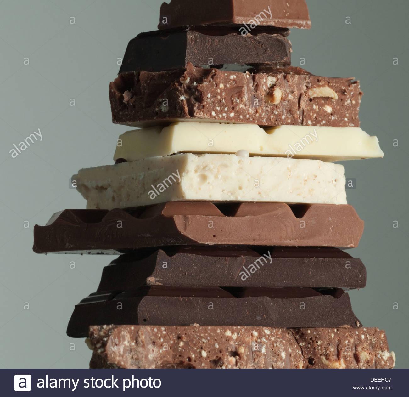 Pila di barrette di cioccolato Immagini Stock