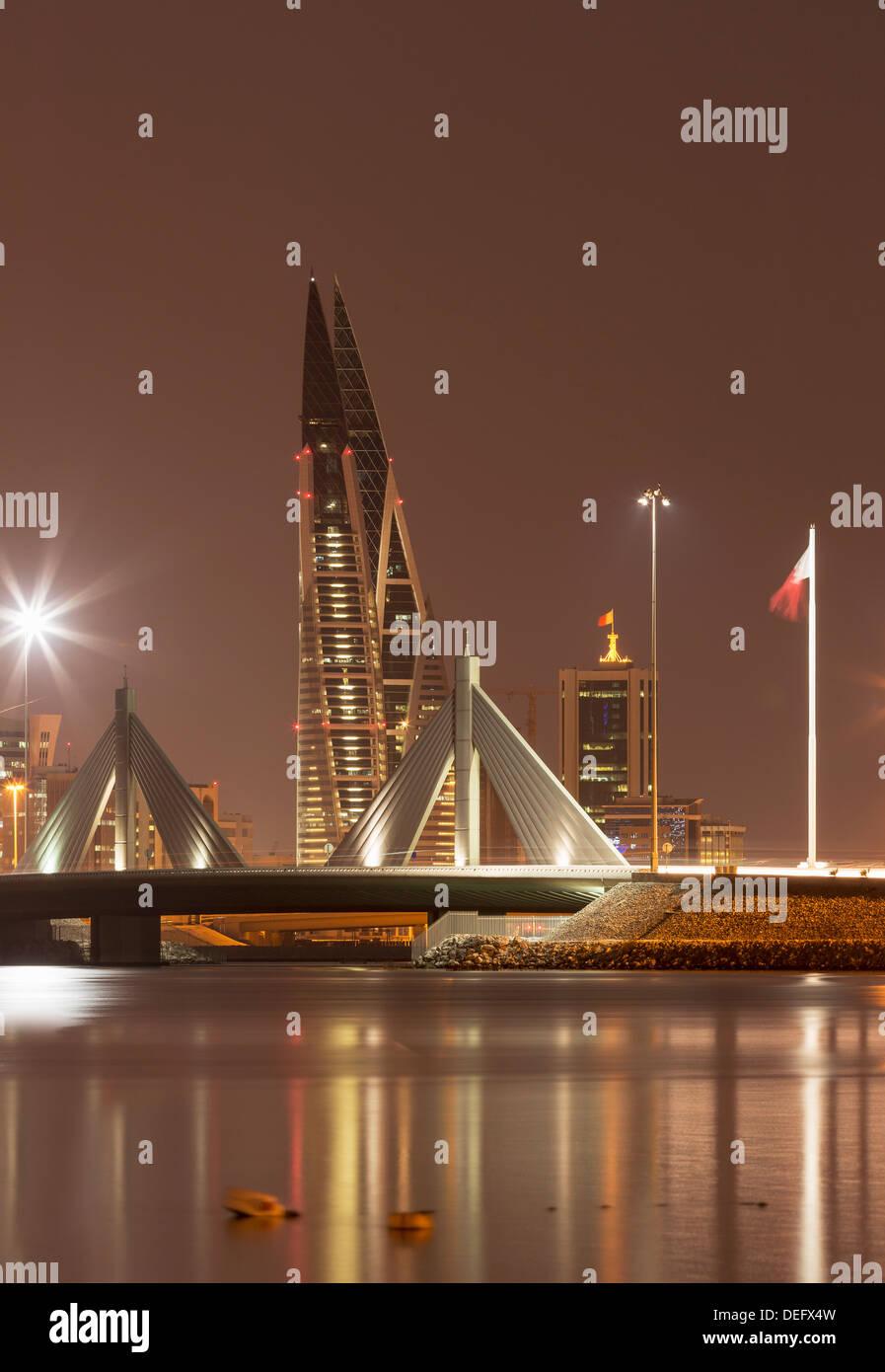 Manama di notte, Bahrein, Medio Oriente Immagini Stock