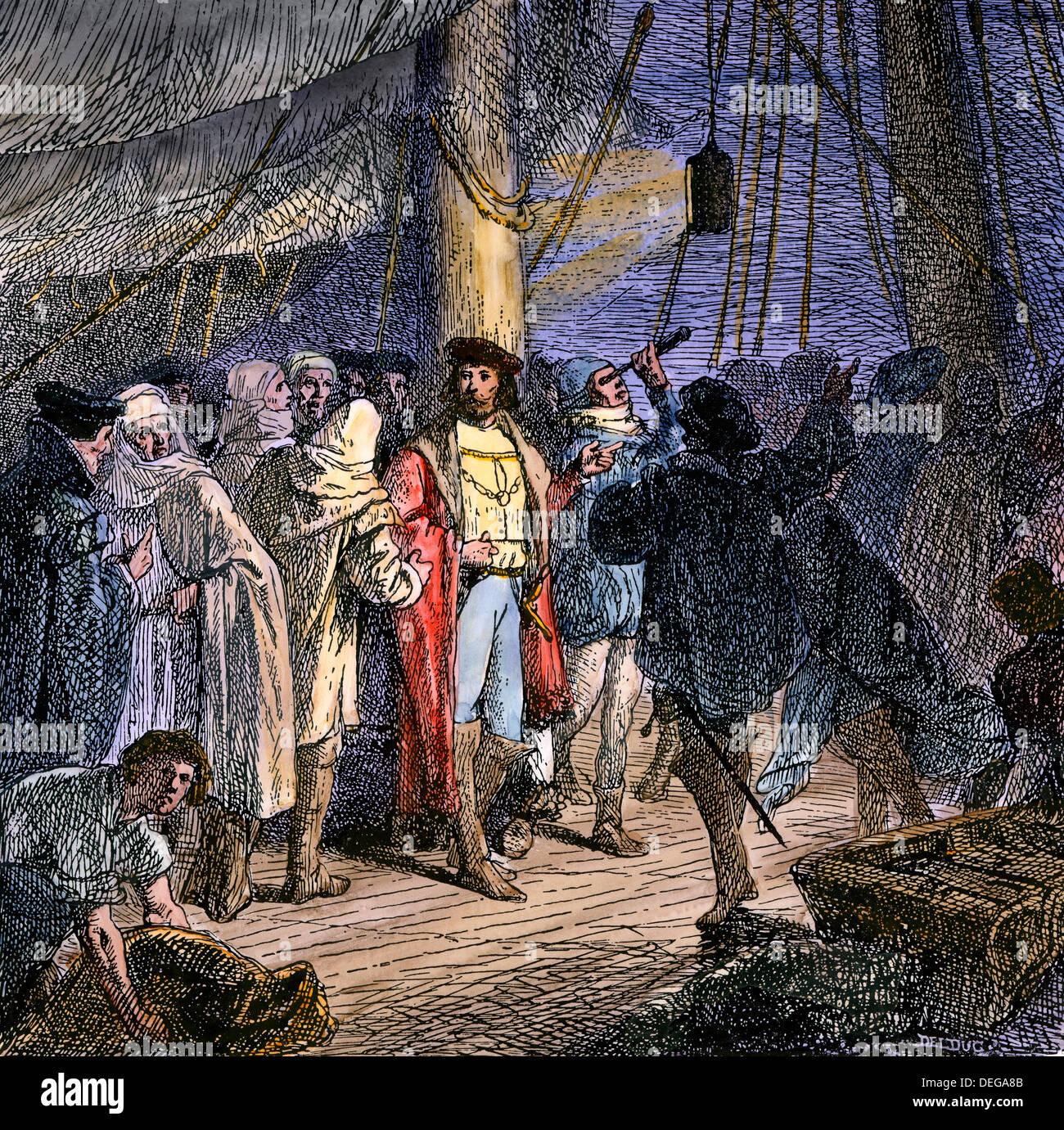 Columbus la navigazione mediante le stelle dal ponte di Santa Maria, 1492. Colorate a mano la xilografia Immagini Stock