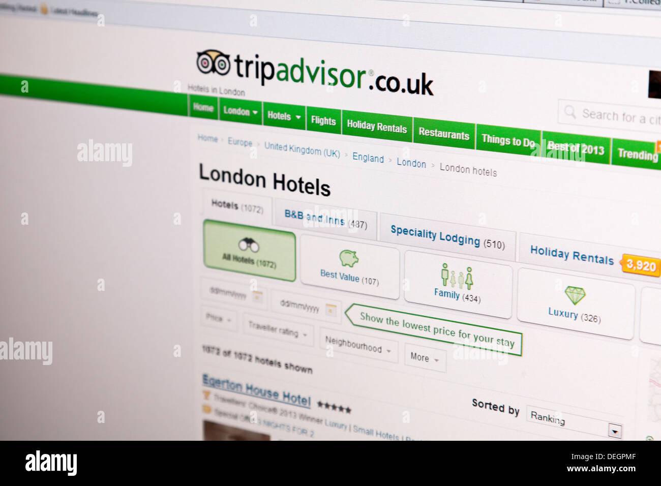 Tripadvisor trip advisor sito internet versione UK tripadvisor.co.uk Immagini Stock
