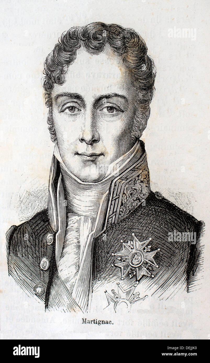 Francia, storia del XIX secolo - Jean-Baptiste Sylvère Gay, vicomte de Martignac 20 GIUGNO 1778-3 aprile 1832 era un moderato Immagini Stock