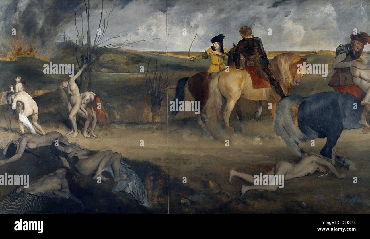 Edgar Degas - scena di battaglia nel Medioevo - aka la sofferenza della città di New Orleans - 1861 - Il Museo d' Orsay - Parigi Immagini Stock