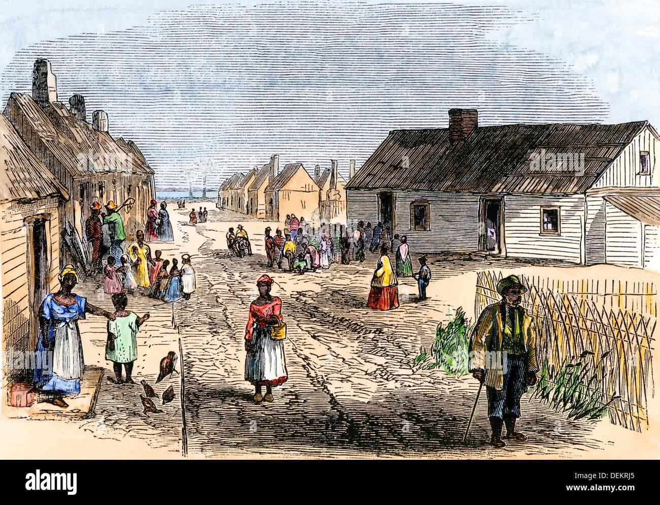 Schoolhouse e cappella di schiavi liberati a Trento fiume insediamento, North Carolina, 1866. Colorate a mano la xilografia Immagini Stock