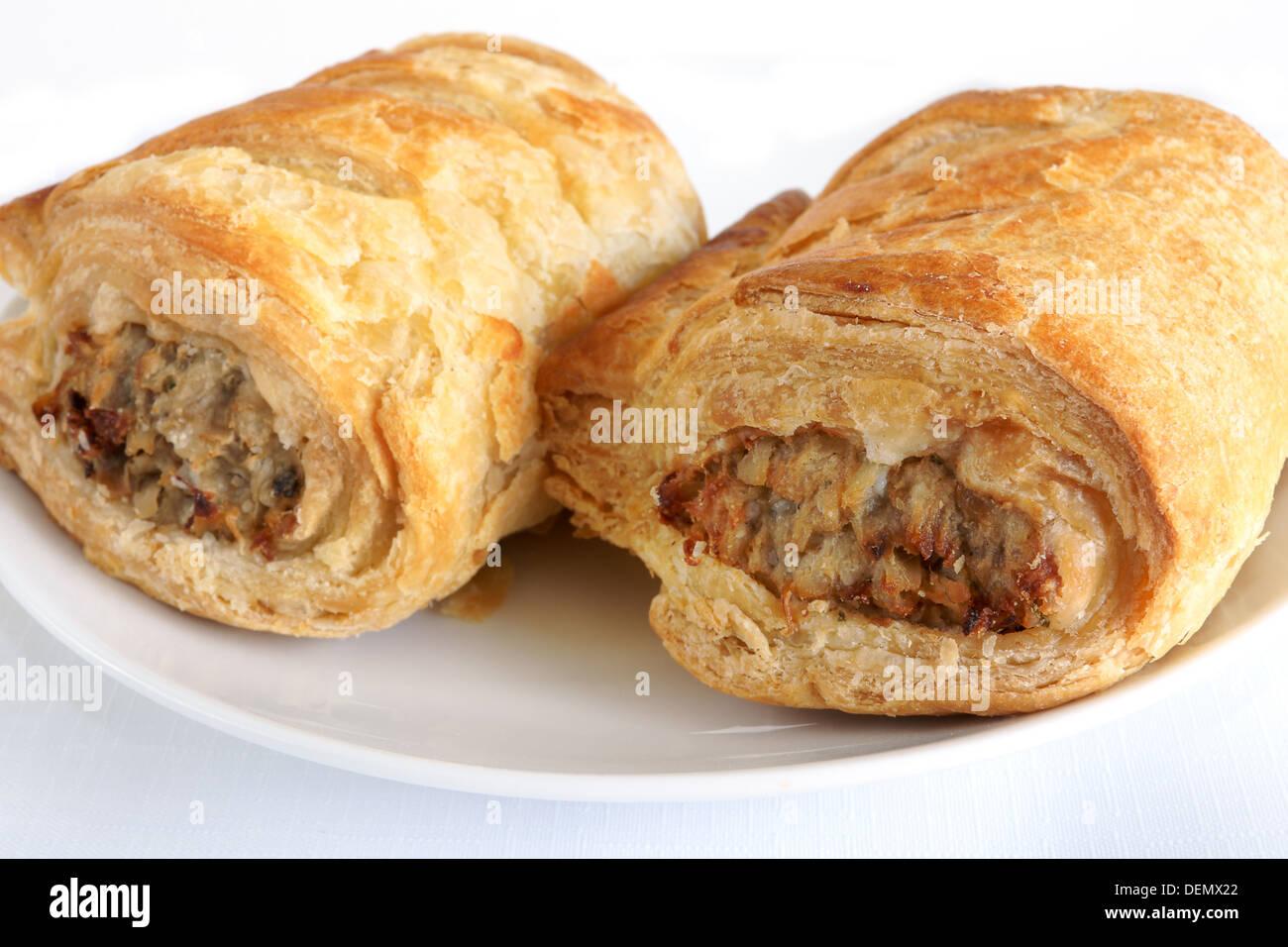Salsicce di maiale rotoli un tipicamente britannico snack Immagini Stock