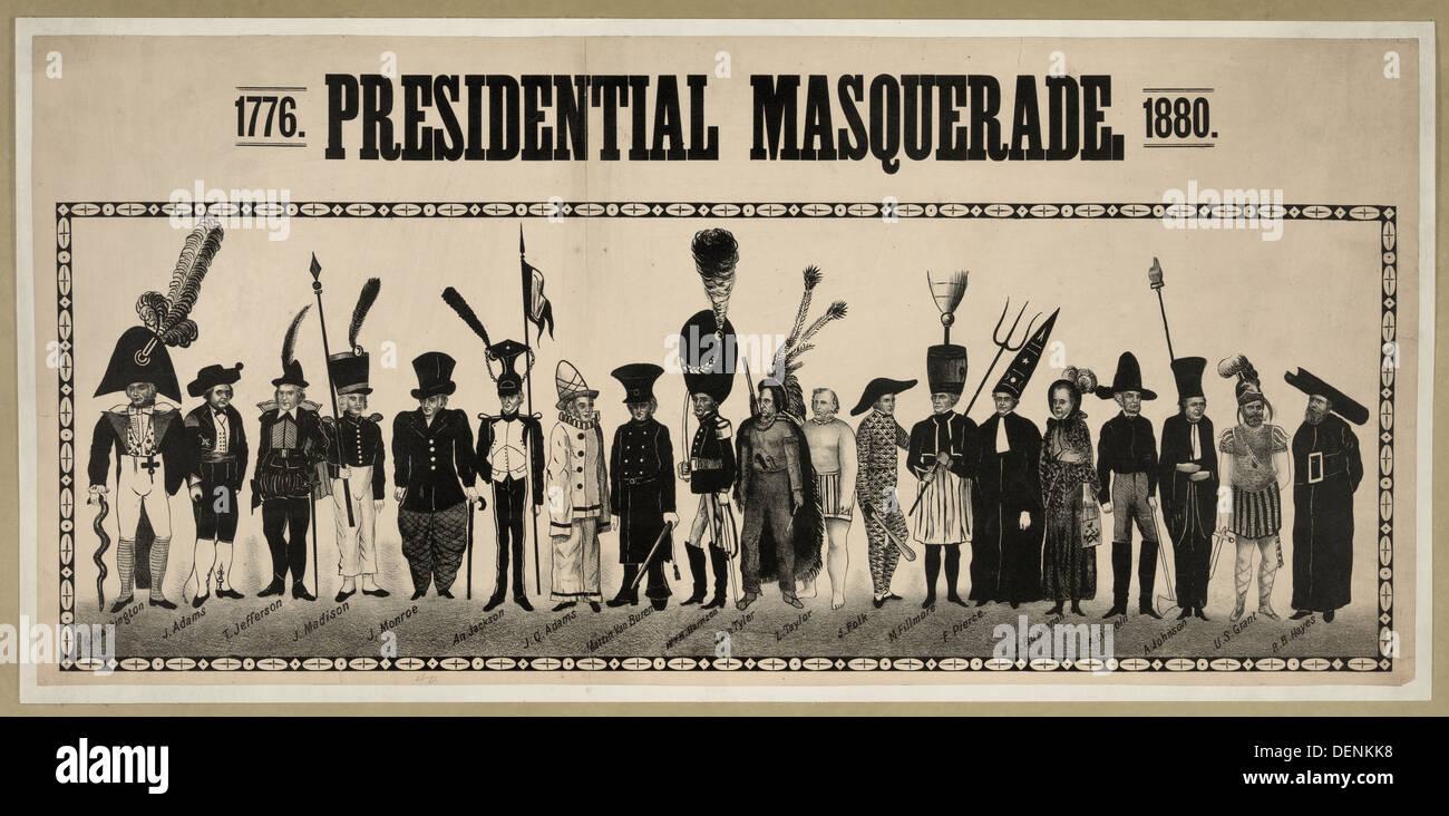 Masquerade presidenziale, 1776, 1880. Stati Uniti d'America Presidenti da 1776 - 1880 Immagini Stock