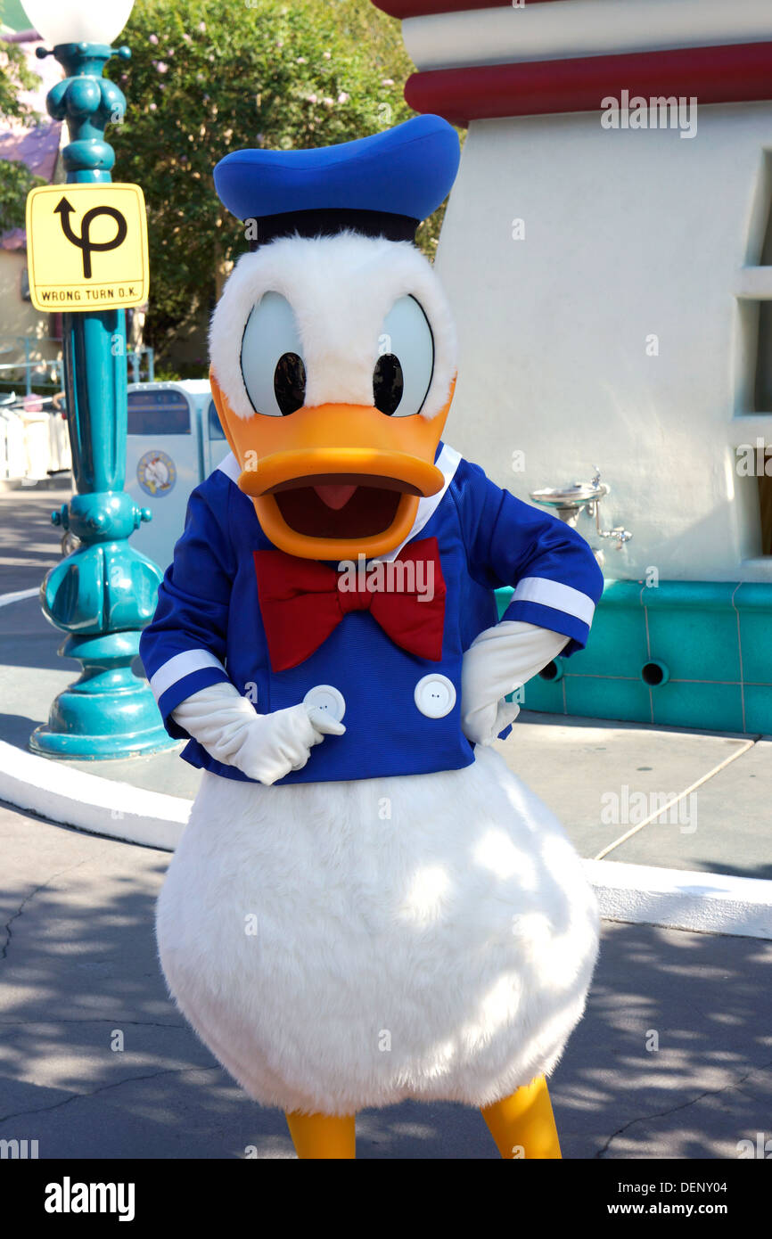 Donald Duck Disney carattere, Disneyland, Anaheim, California Foto Stock