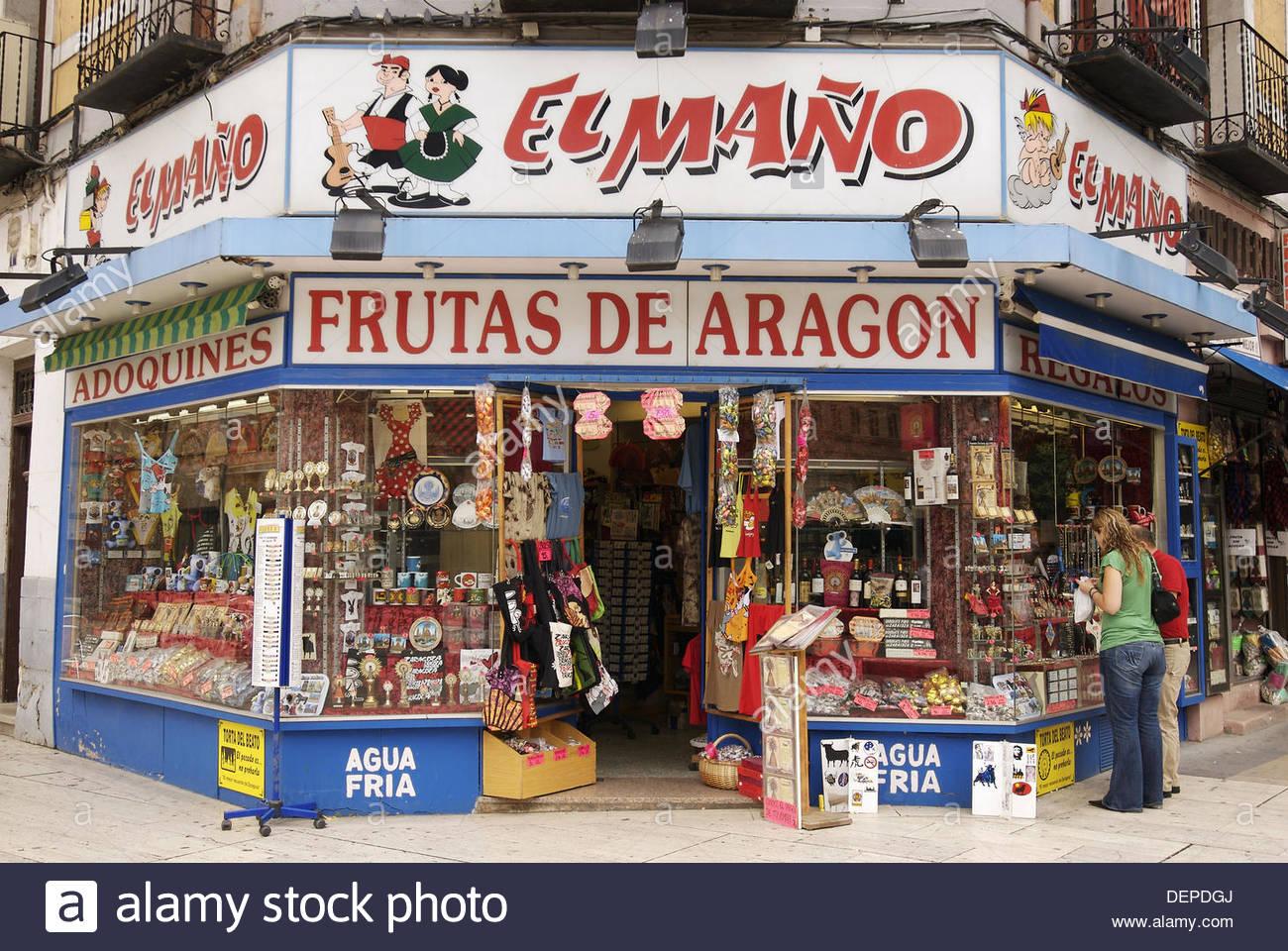 Negozio di souvenir negozio El Maño. Saragozza, Aragona. Spagna. Immagini Stock