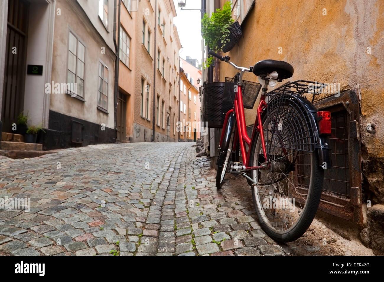 Una bici in hotel di Gamla Stan città vecchia di Stoccolma, Svezia, Europa Immagini Stock