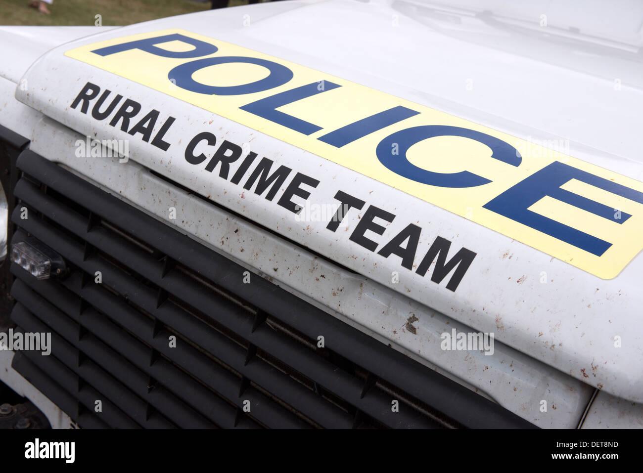 Il testo sulla Wiltshire polizia criminalità rurale squadre veicolo Immagini Stock