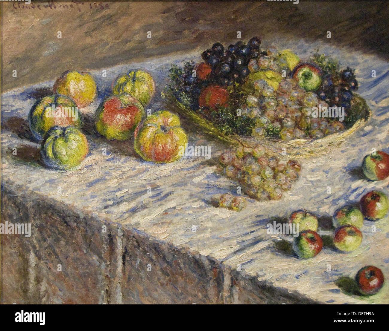 Claude Monet - mele e uva - 1880 - L'Art Institute of Chicago Immagini Stock