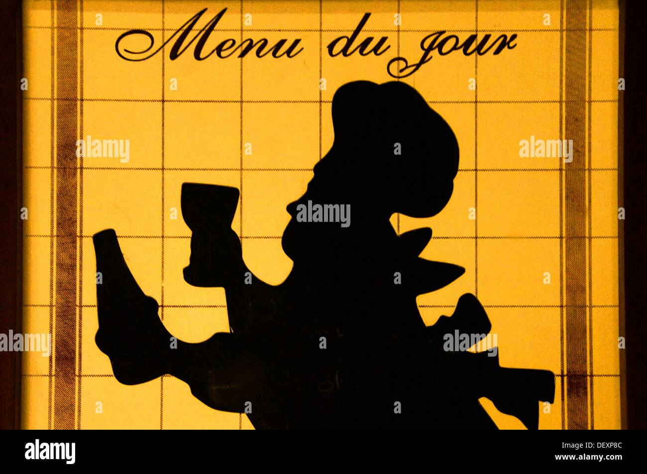 "Segno di menu al "" Bistrot de pays"", Panjas, Gers, Midi-Pirenei, Francia Immagini Stock"