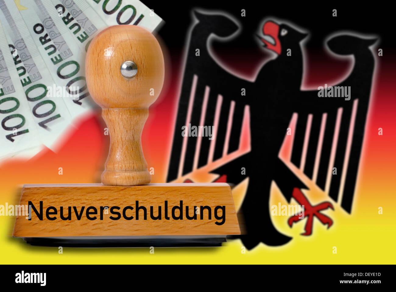 Timbro con la parola 'Neuverschuldung', nuovo indebitamento, aquila tedesca e i colori nazionali Immagini Stock