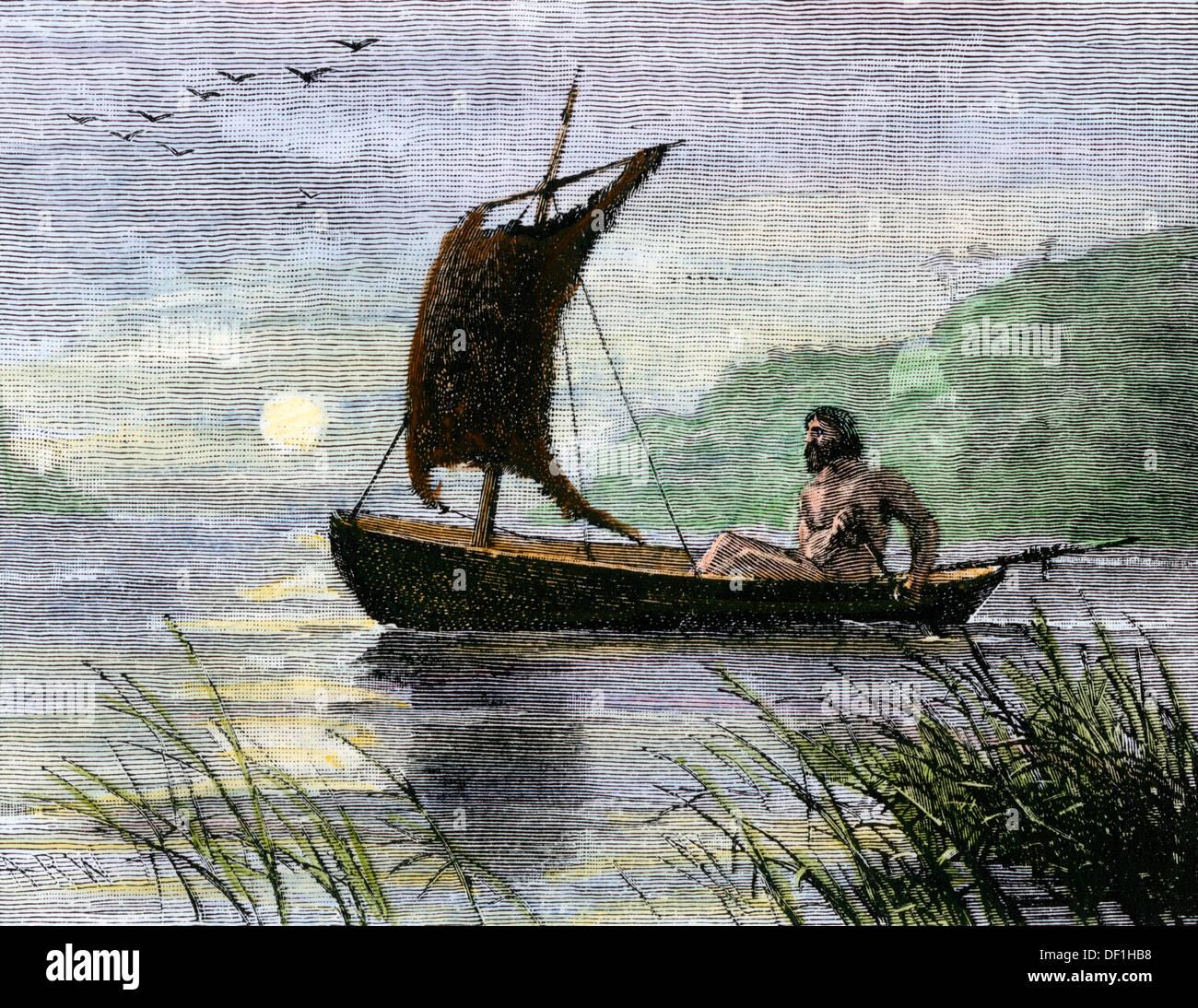 Navigazione preistorico con una vela di pelle. Colorate a mano la xilografia Immagini Stock