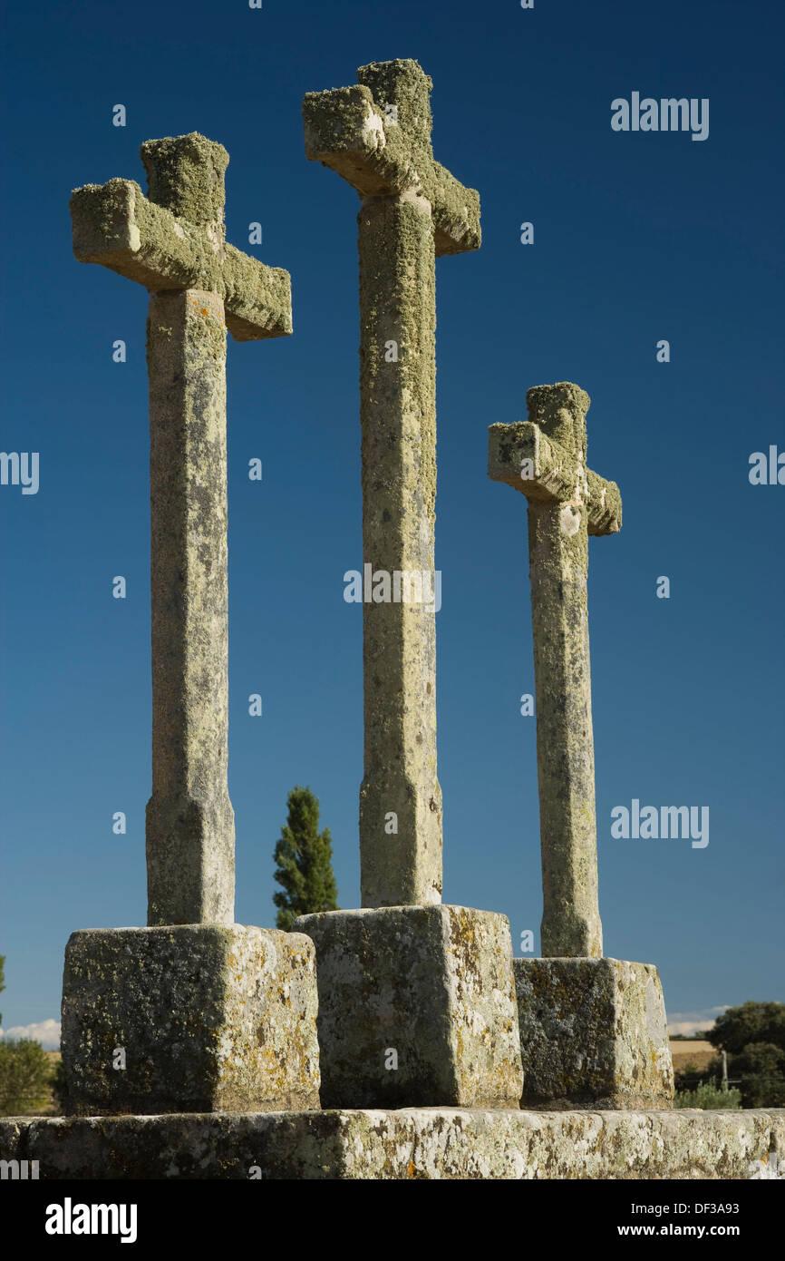Umili croci, Cerralbo, provincia di Salamanca, Castilla y León, Spagna Immagini Stock
