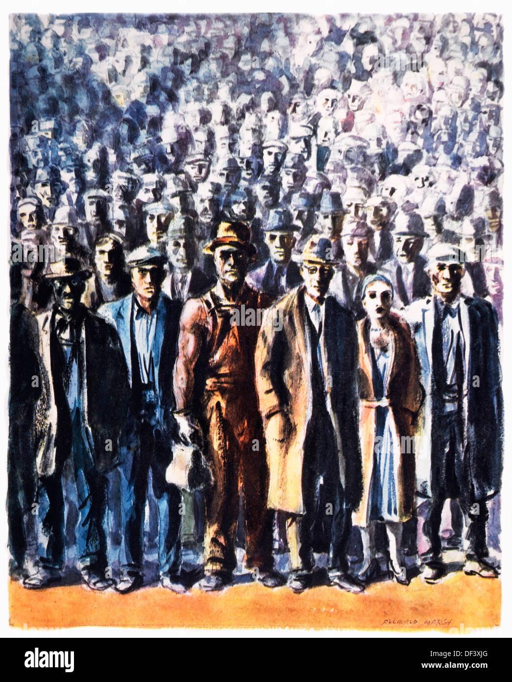 """""""Venticinque milioni in desidera' americani durante la Grande Depressione, illustrazione, Reginald Marsh, 1932 Immagini Stock"""