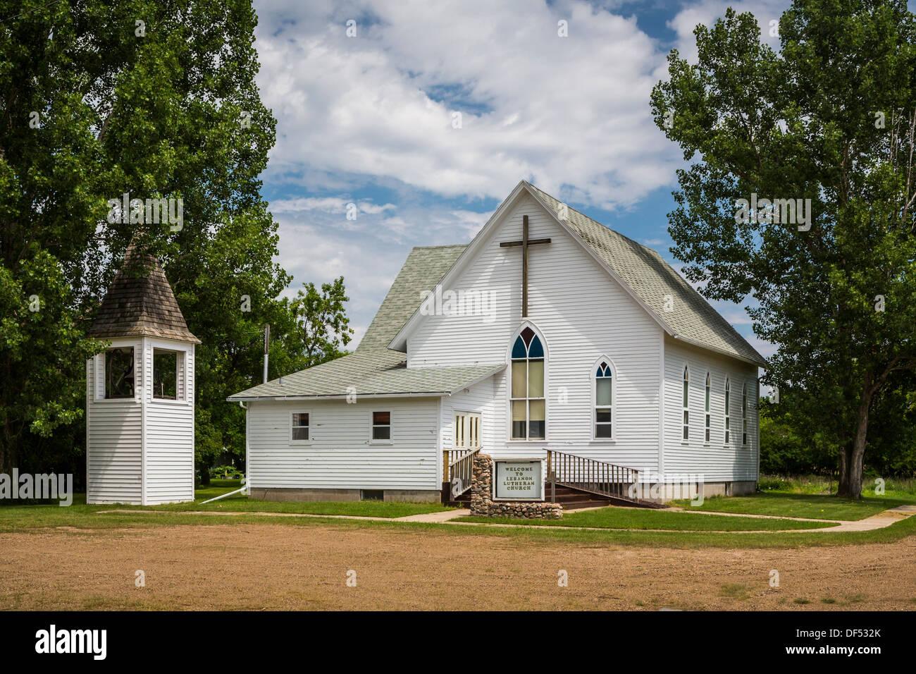 La Chiesa Luterana edificio in Libano, il Dakota del Nord, Stati Uniti d'America. Immagini Stock