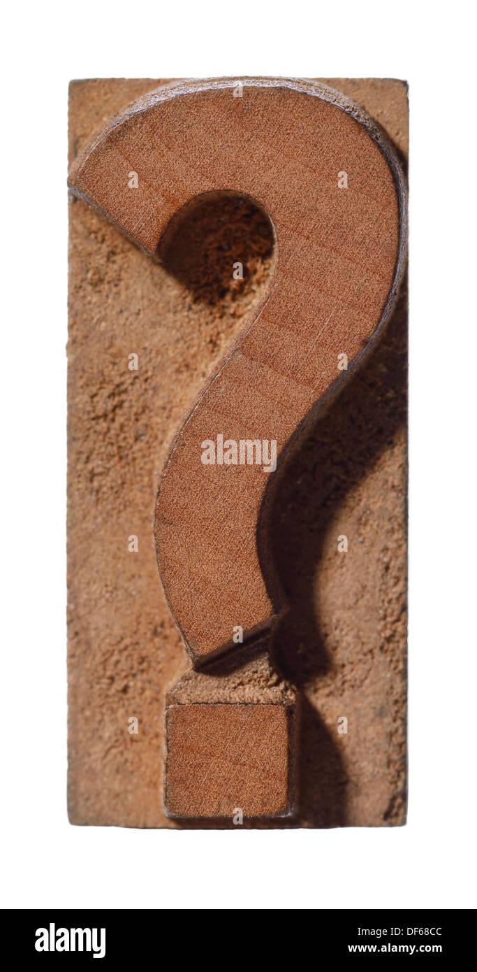 La stampa tipografica in legno punto interrogativo Carattere tipo Immagini Stock
