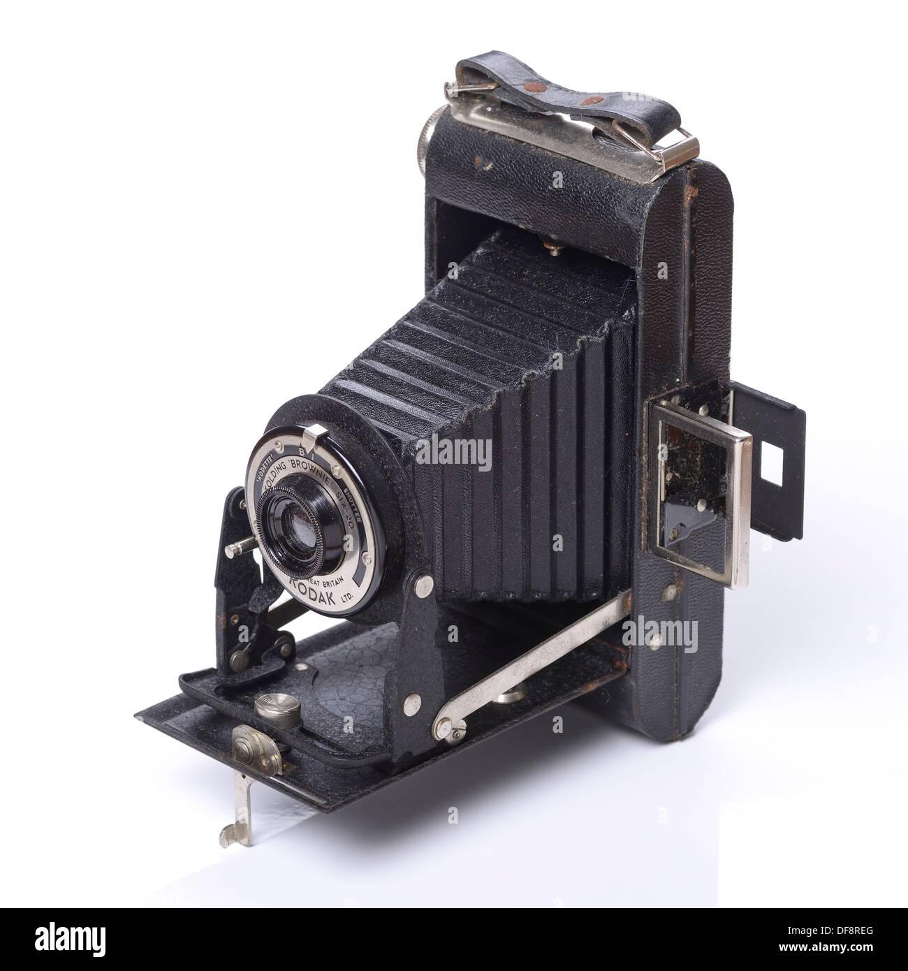 Vecchio retro vintage Kodak Folding Brownie fotocamera Immagini Stock