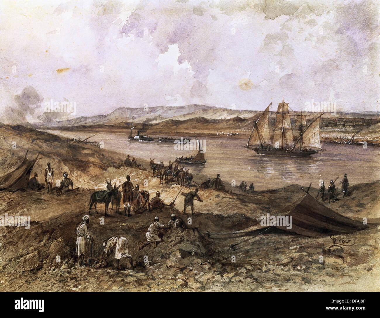 Canale di Suez. L'Egitto. Aperto nel Novembre 1869. Acquerello di Riou. Compiegne Castello. La Francia. Immagini Stock