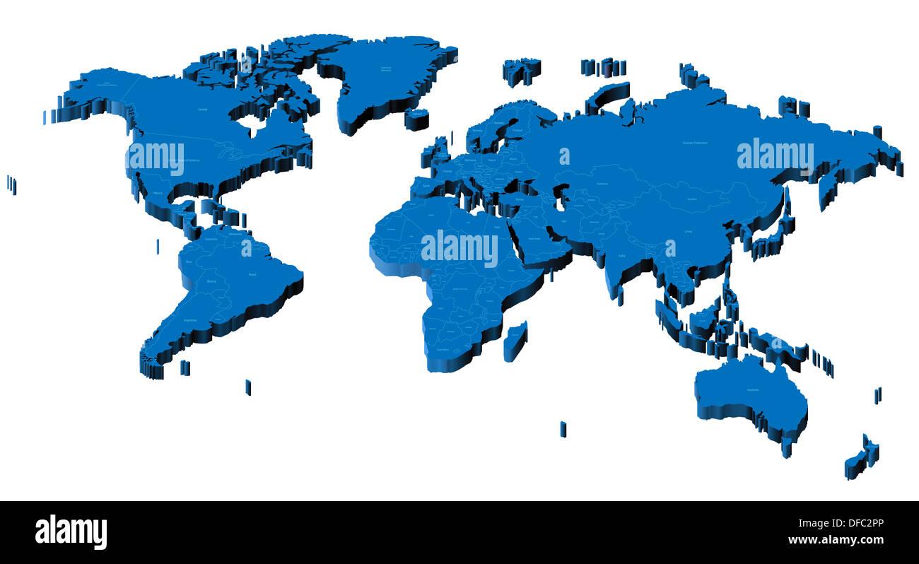 Cartina Mondo Con Nomi.Mappa Del Mondo Con I Confini Nazionali E I Nomi Dei Paesi Foto Stock Alamy