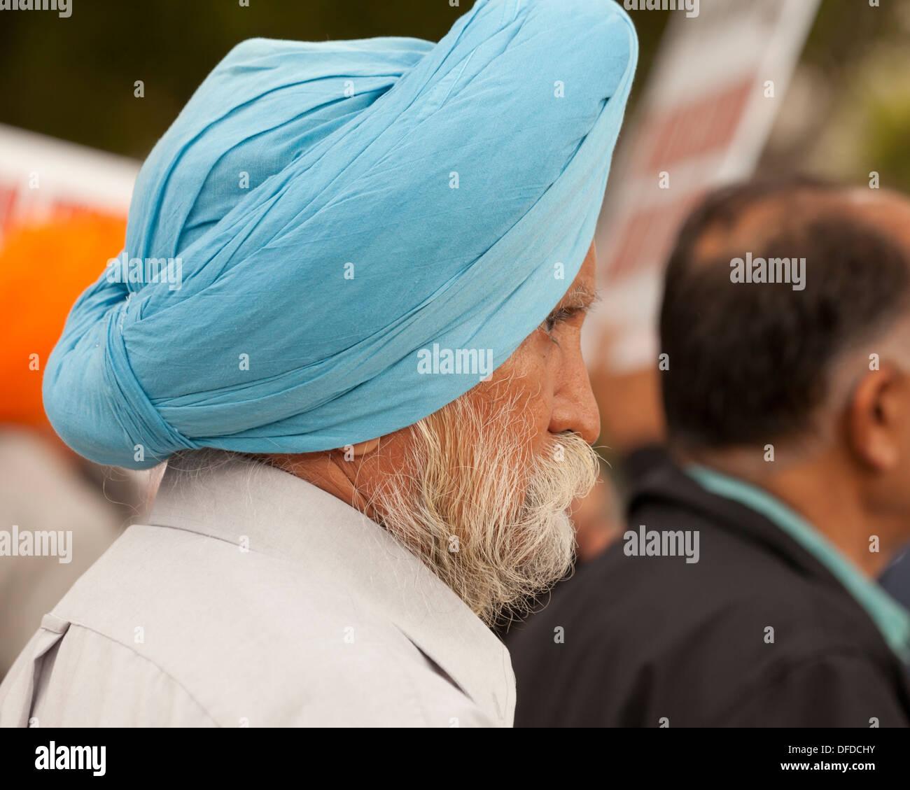 La religione sikh uomo che indossa dastar - USA Immagini Stock