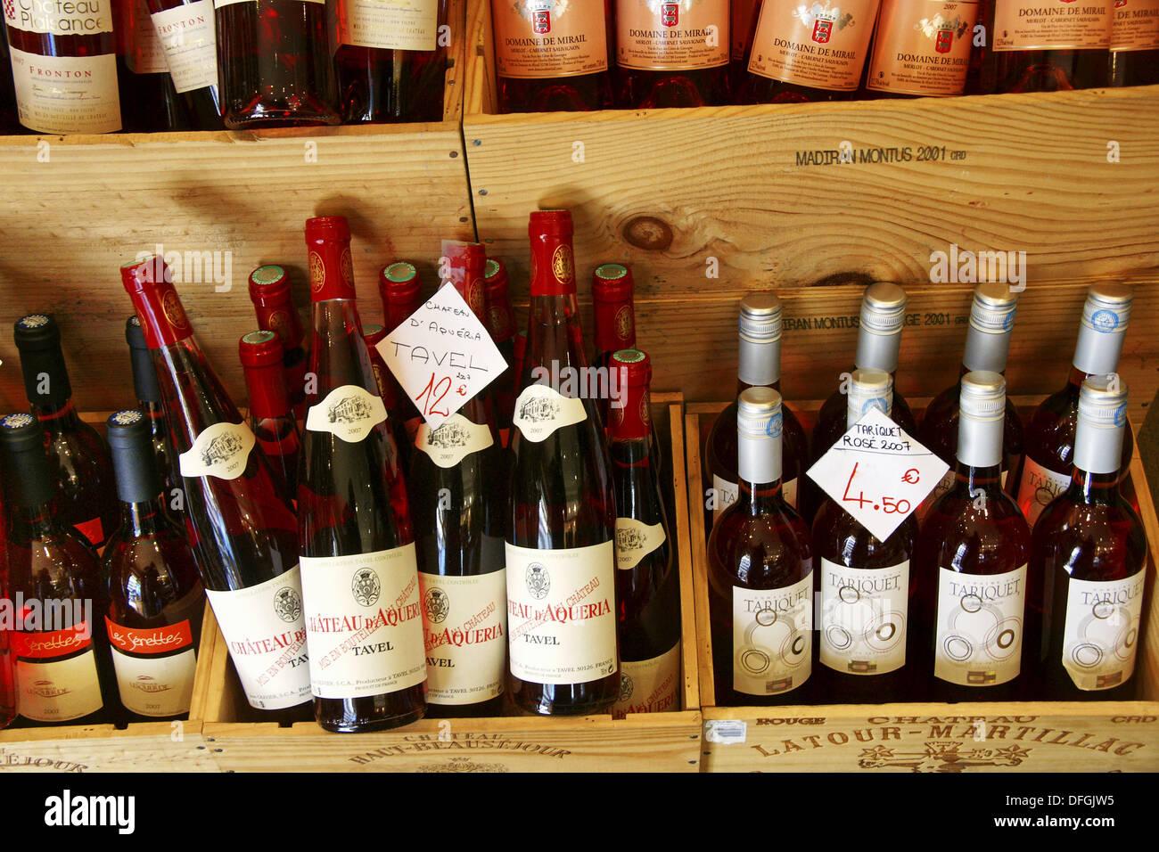 Diversi vini francesi (Tavel, Tariquet, ecc.), Francia Immagini Stock