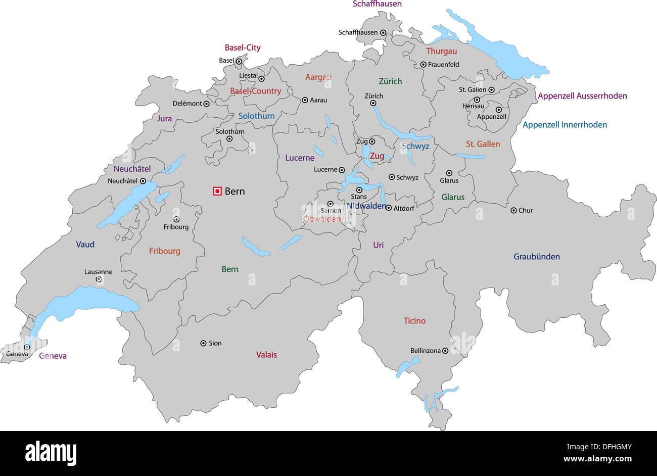 Cartina Della Svizzera.Grigio Cartina Della Svizzera Foto Immagine Stock