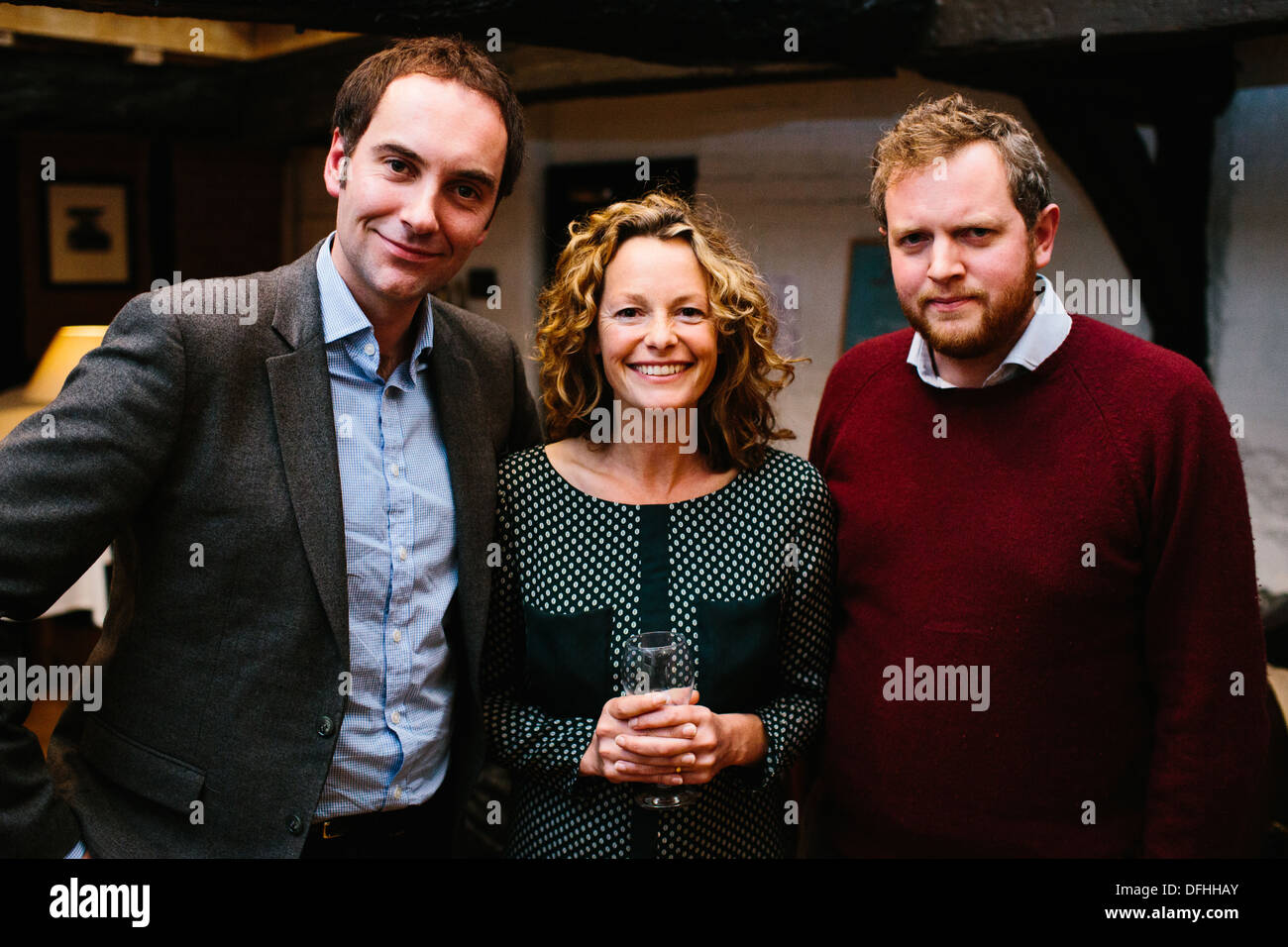 Dougie Anderson & Kate umile & Miles Jupp Immagini Stock