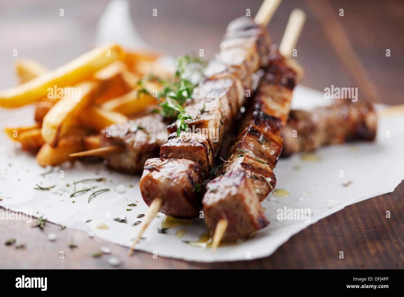Carne alla brace, souvlaki Immagini Stock