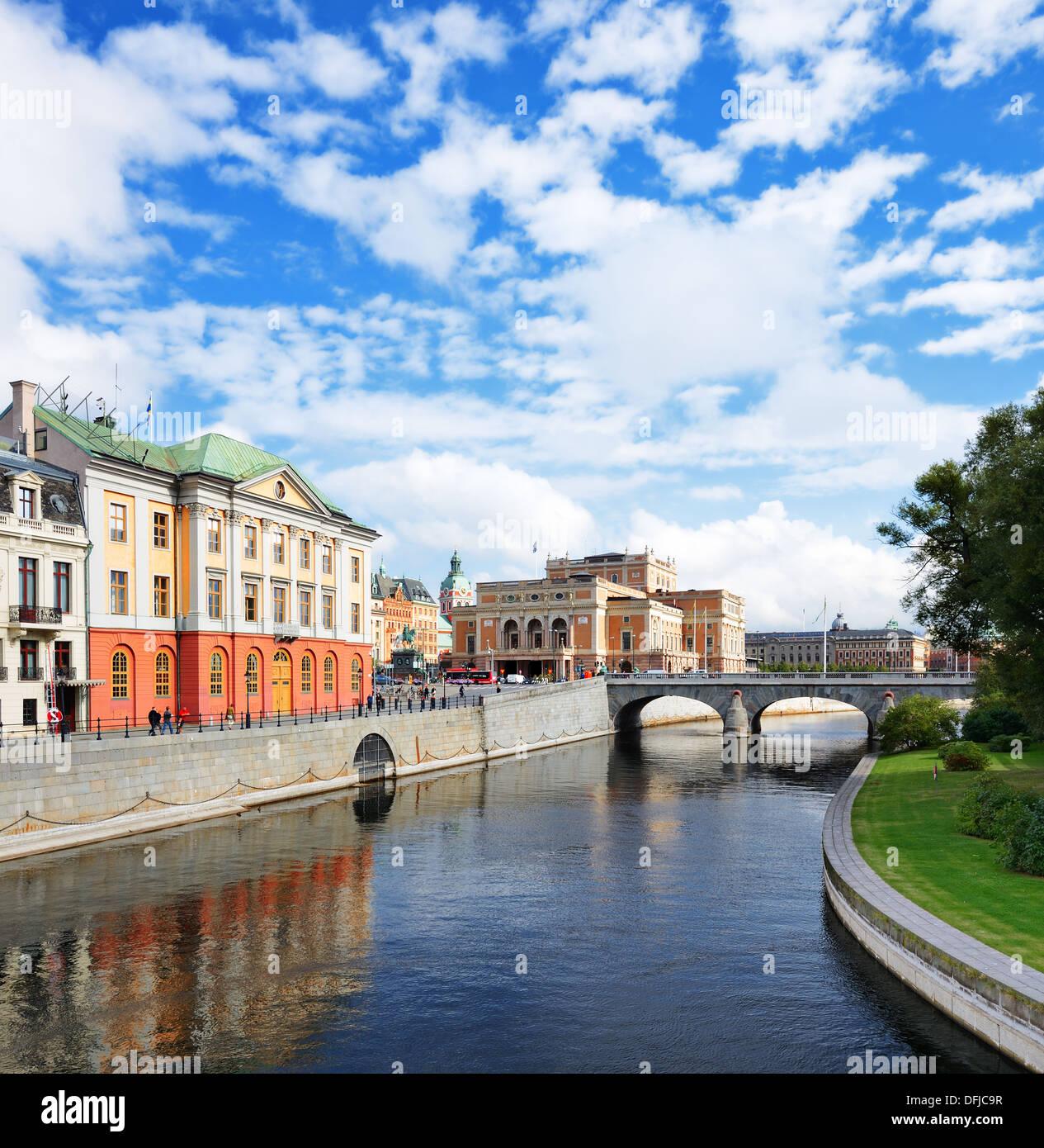 Stoccolma, Svezia fiume cityscape. Immagini Stock