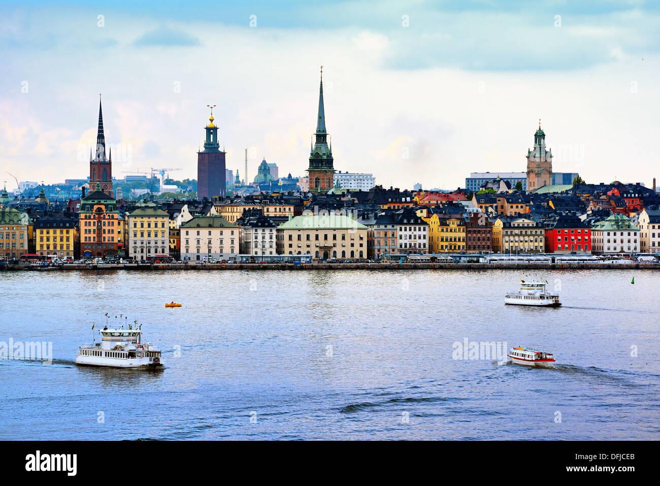 Stoccolma, Svezia cityscape dal porto. Immagini Stock