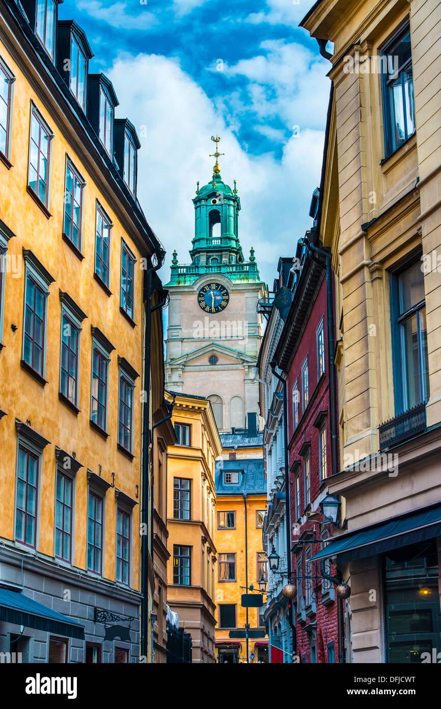 Stoccolma, Svezia vicolo. Immagini Stock