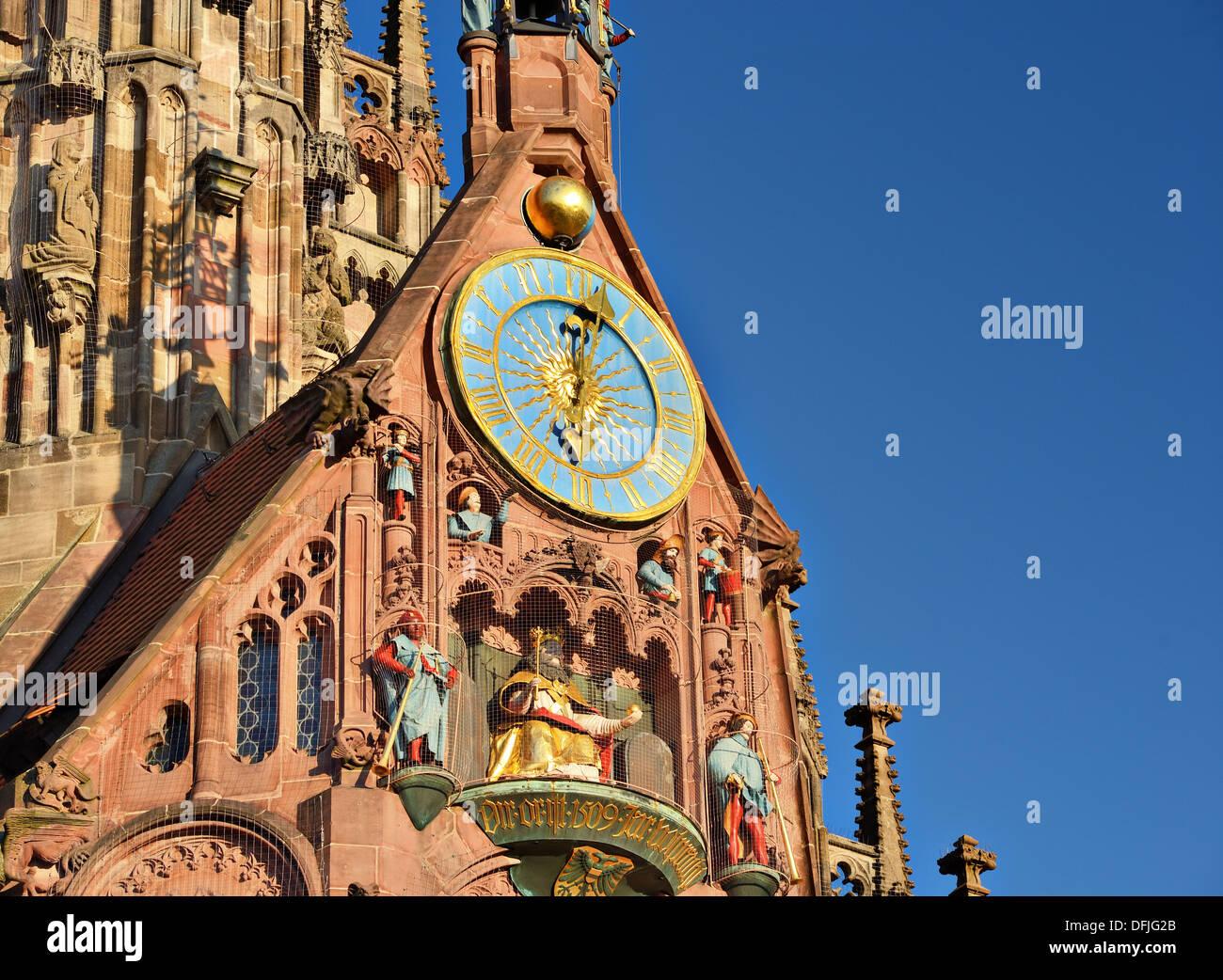 La Frauenkirche di Norimberga, Germania Foto Stock