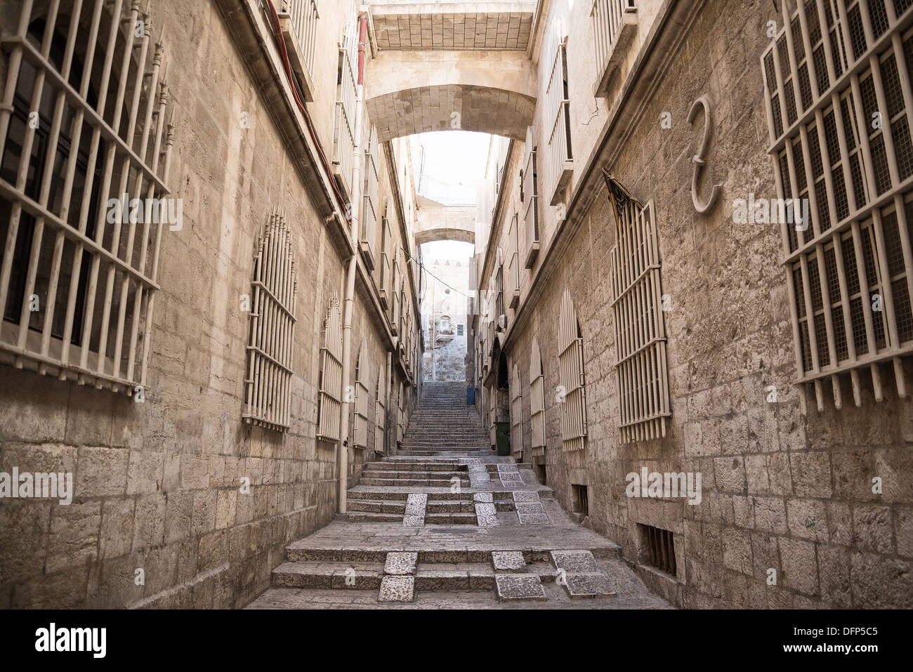 Strada di Gerusalemme città vecchia in Israele Immagini Stock