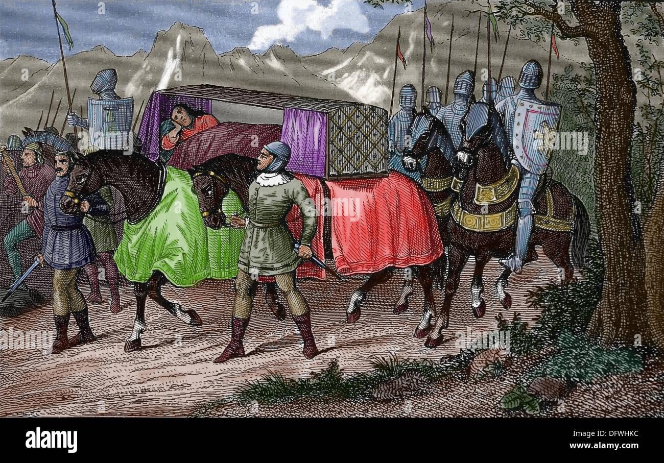 La storia. Europa medievale. Il viaggio del re frankish nel VIII secolo. Immagini Stock
