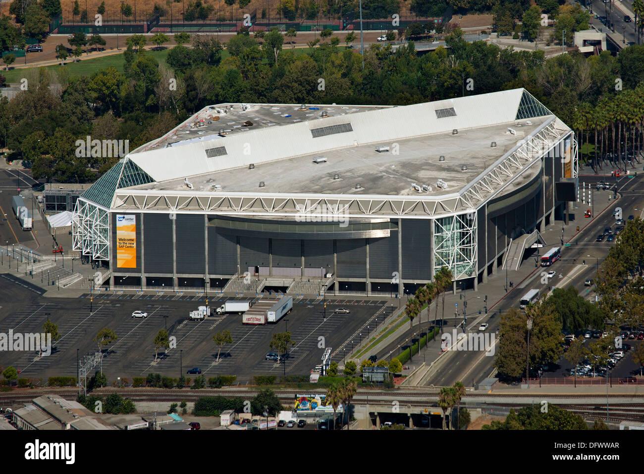 Fotografia aerea del centro di SAP a San Jose, Santa Clara, California Immagini Stock
