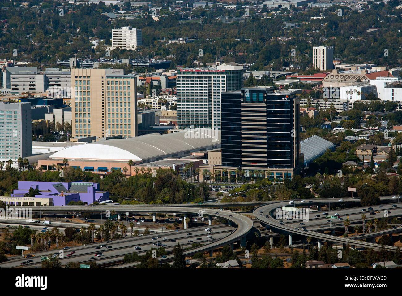 Fotografia aerea centro San Jose, Santa Clara, California Immagini Stock