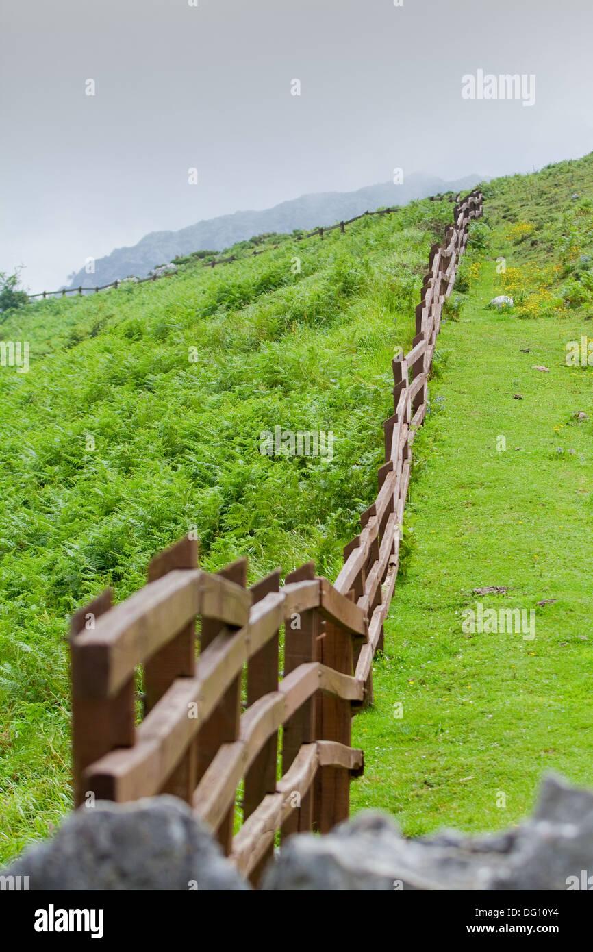 Recinzione in legno in ambiente rurale. Immagini Stock