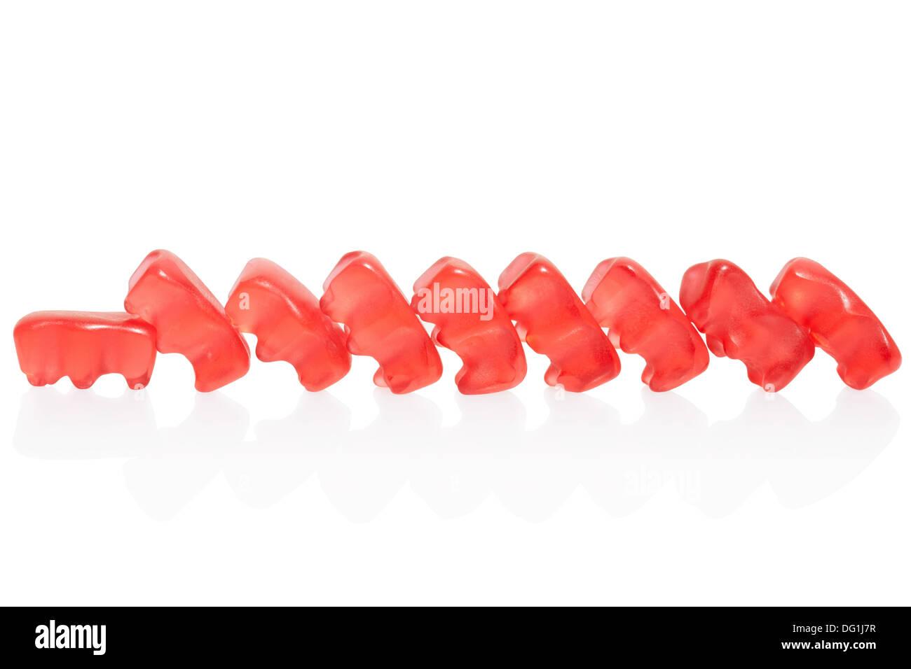 Gummy bears effetto domino Immagini Stock