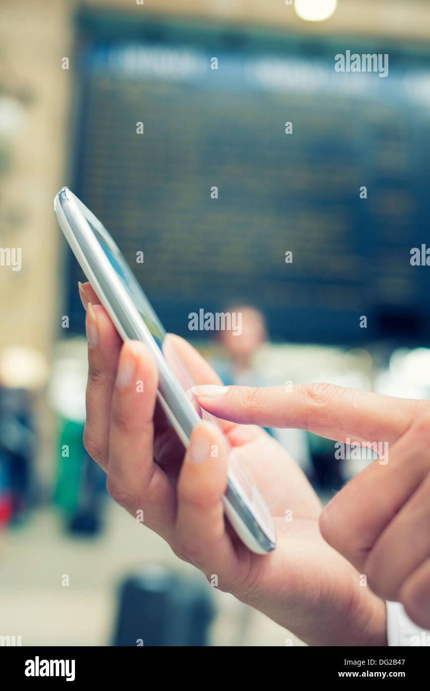 Atrio della femmina cellulare messaggio tgv sms vintage Immagini Stock