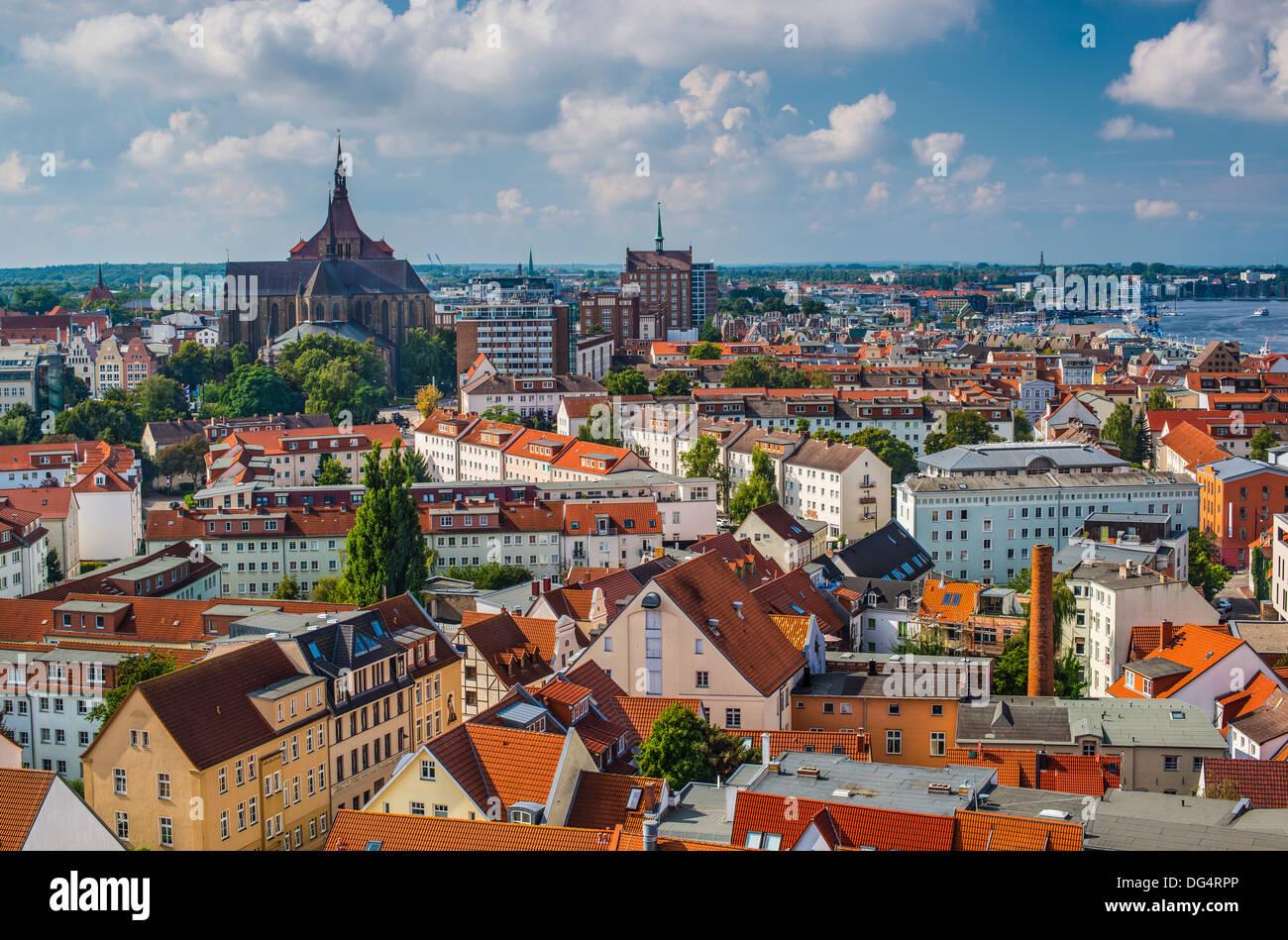 Rostock, Germania lo skyline della citta'. Immagini Stock