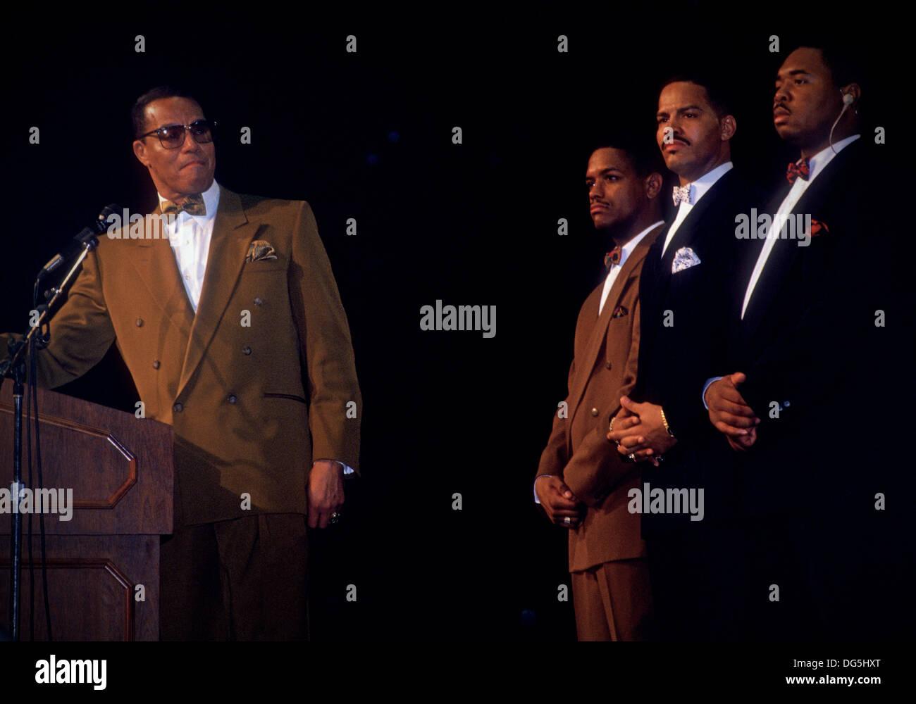 New York City, NY - 1992 Ministro Louis Farrakhan, nazione dell'Islam Immagini Stock