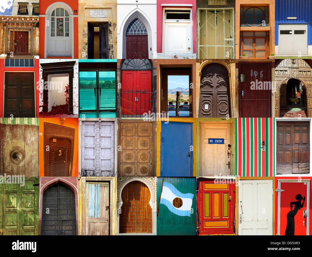 Ad alta definizione di composizione 32 street porte in varie località del mondo Immagini Stock