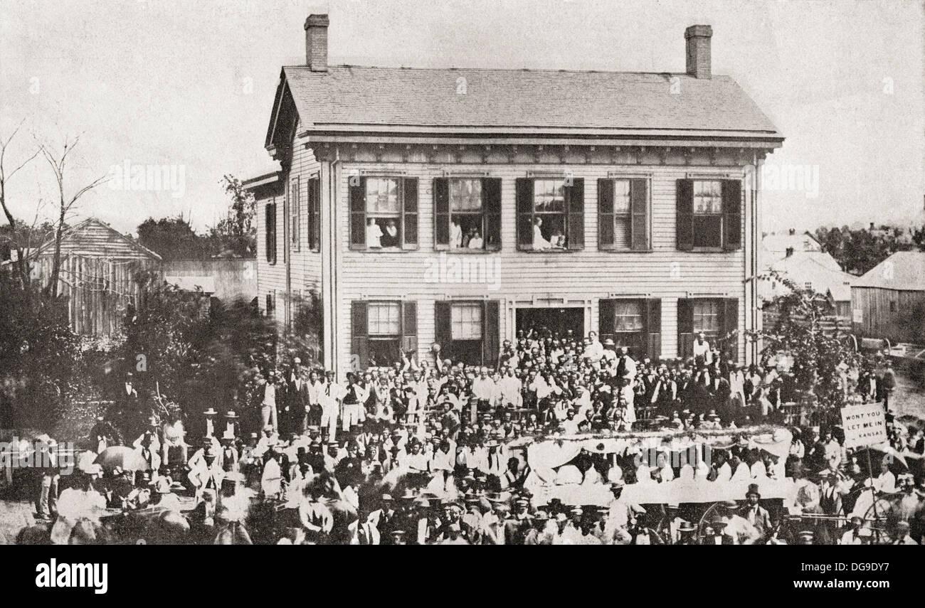 La Folla di fronte di Abraham Lincoln di Springfield, Illinois home durante il 1860 campagna presidenziale. Foto Stock