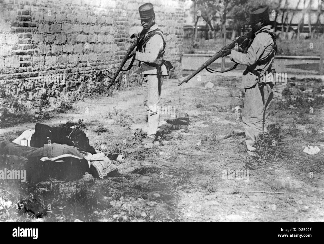 Esecuzione politico, Messico durante la rivoluzione messicana. Immagini Stock