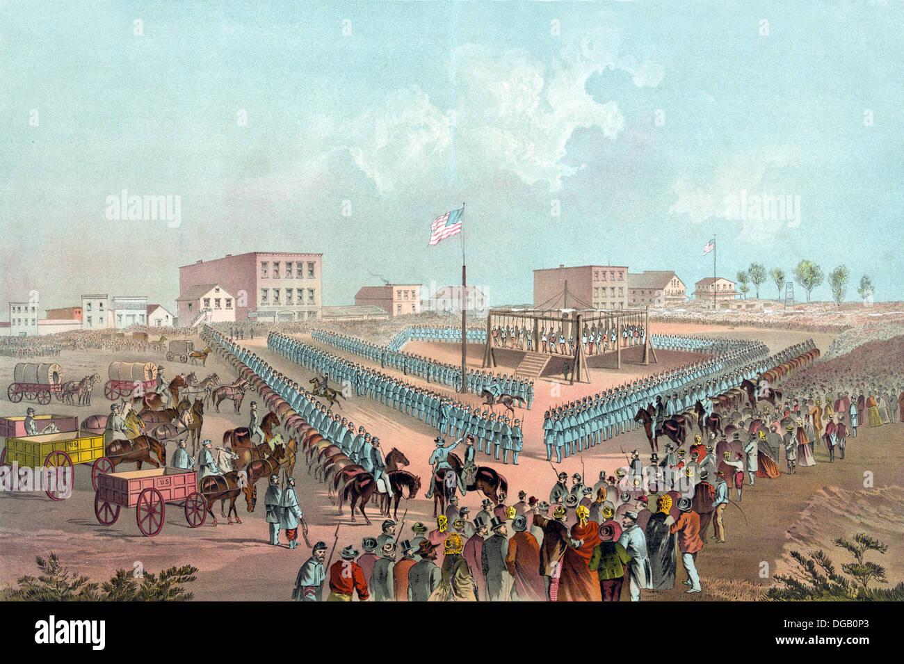 Esecuzione di trentotto Indiani Sioux, a Mankato, Minnesota, 1862 Immagini Stock